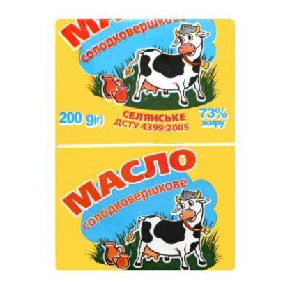 Масло Корівка Селянське солодковершкове 73% 0.200 кг, пак